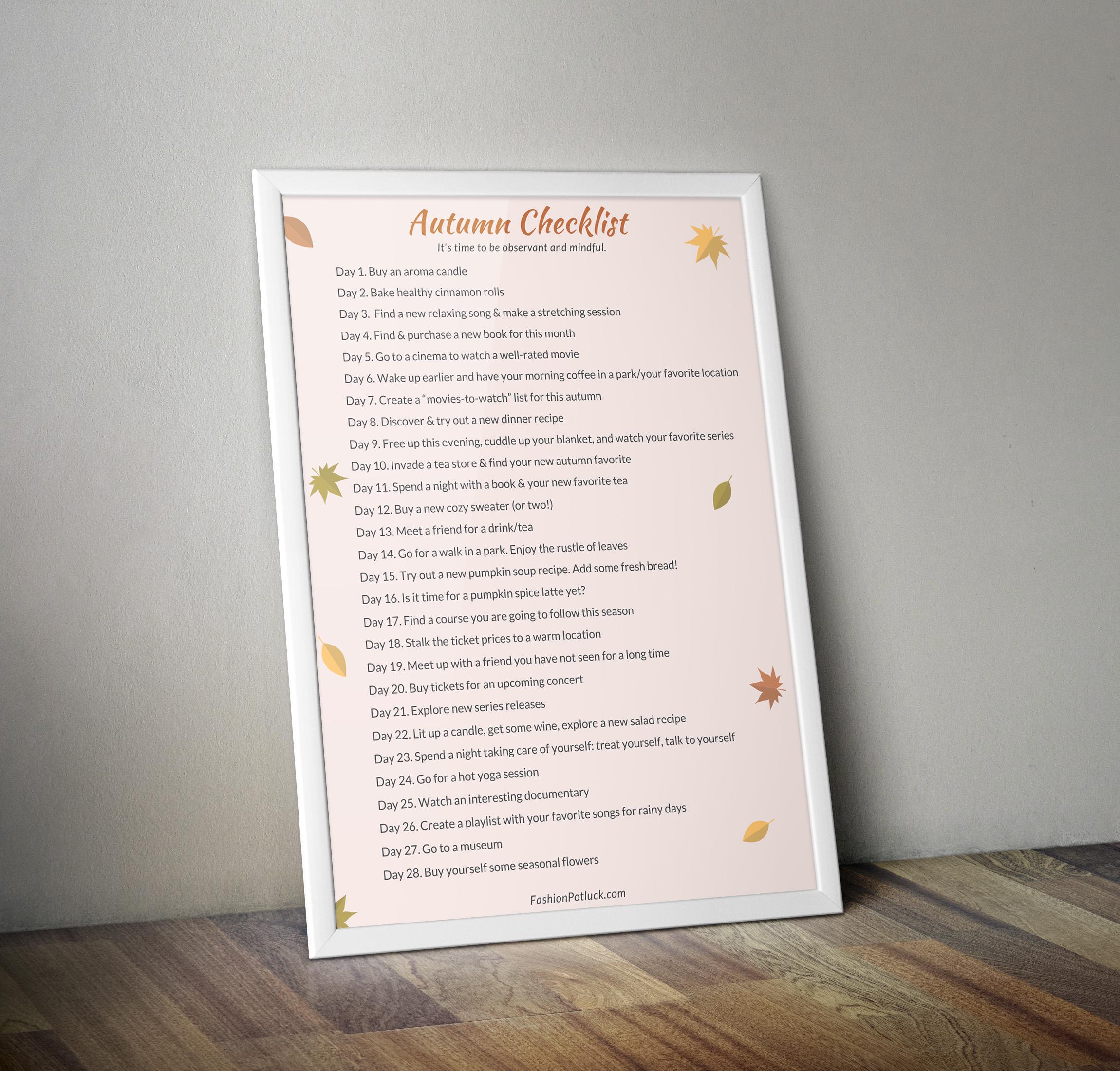 Autumn Self-Care Checklist