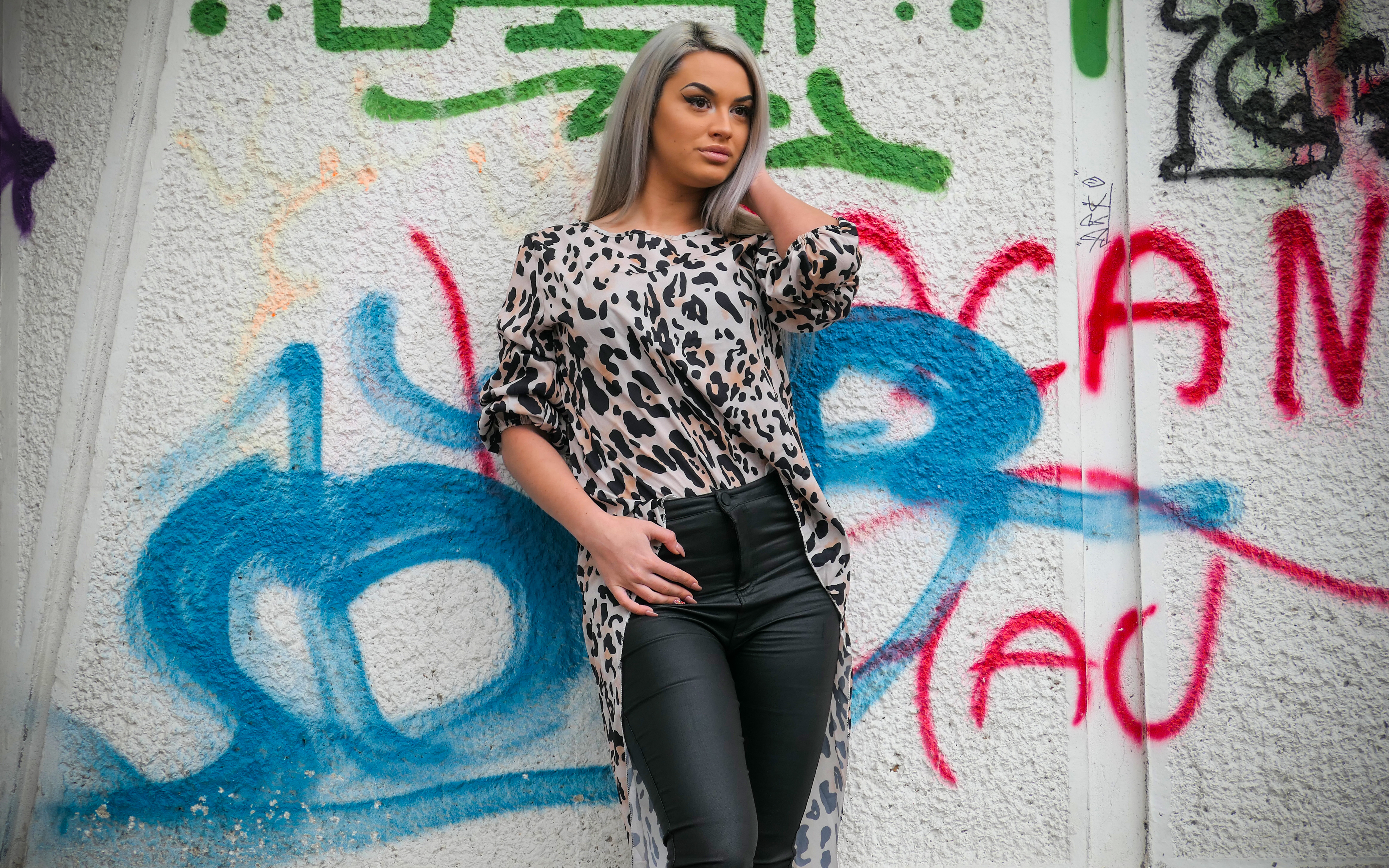 Womens Leopard Print Asymmetrical Long Sleeved Dress