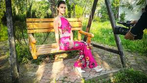 Pink jumpsuit with flower