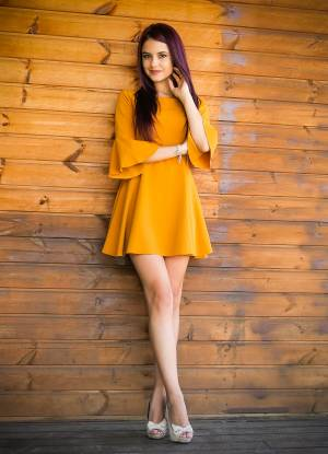 MUSTARD BELL SLEEVE MINI DRESS