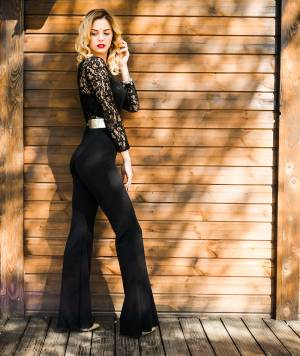 BLACK LACE TOP WIDE LEG JUMPSUIT