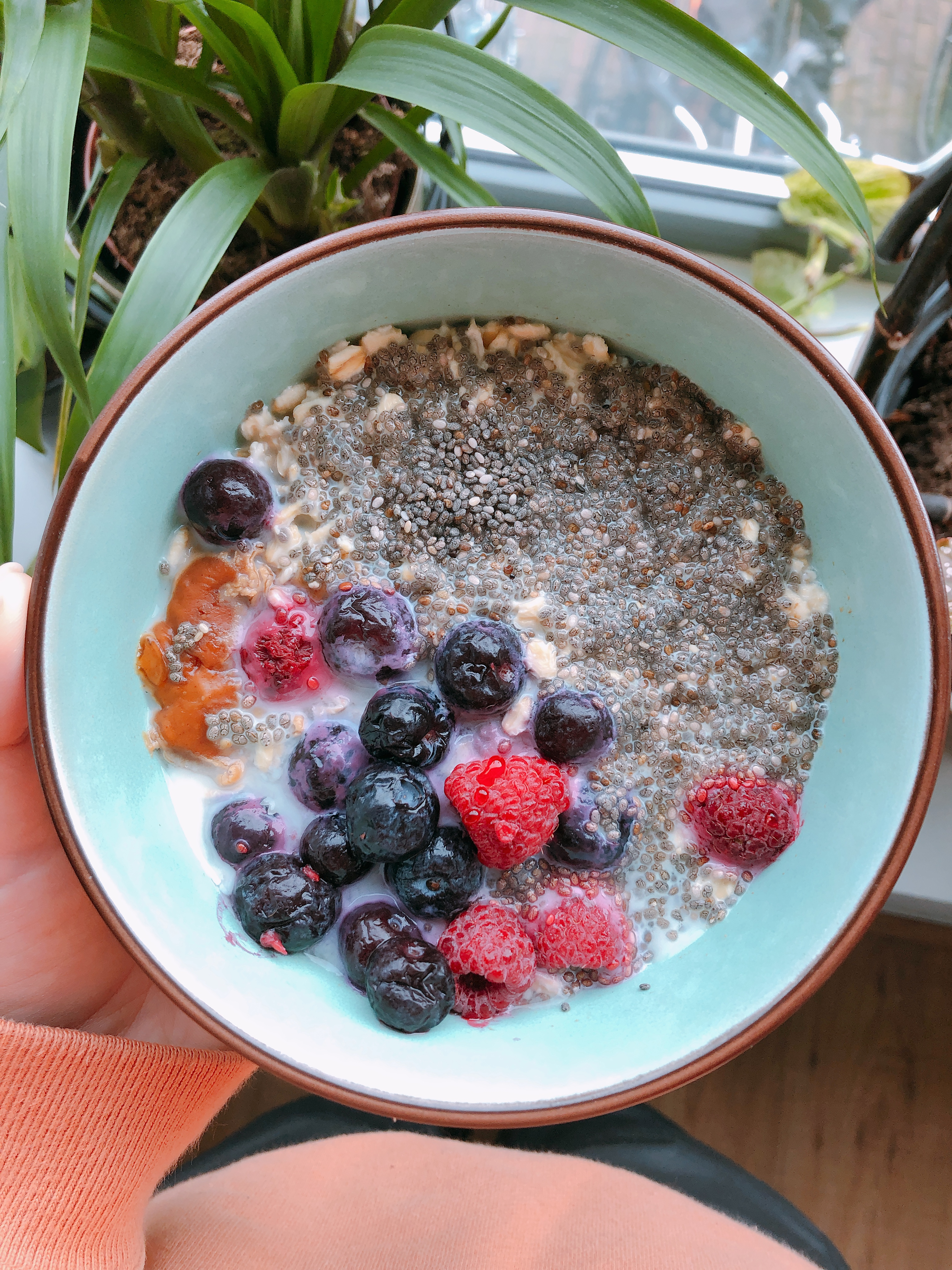 Quarantine Breakfast: Overnight Oats with Berries, Chia Seeds, and Peanut Butter