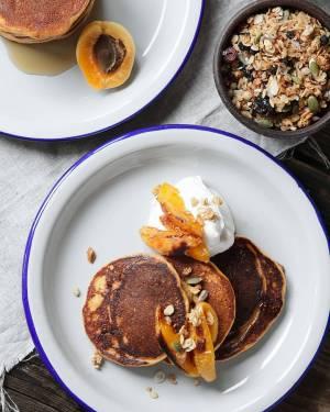 Sweet Potato Pancakes with Yogurt and Caramelized Apricots