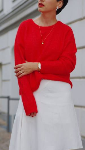 Red Sweater Outfit