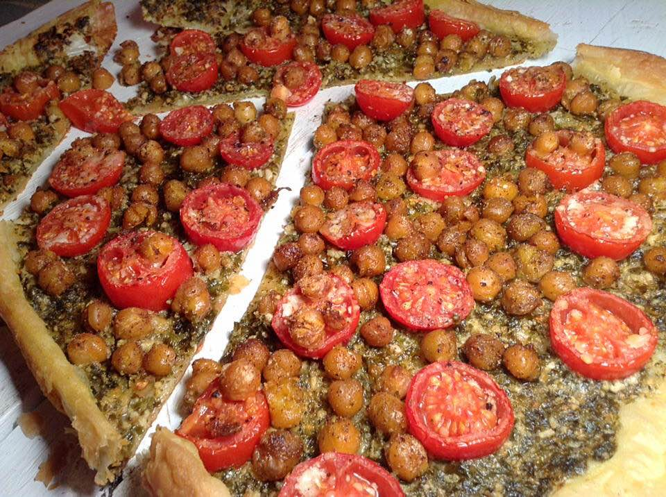 Easy chickpea, cherry tomato and pesto pizza