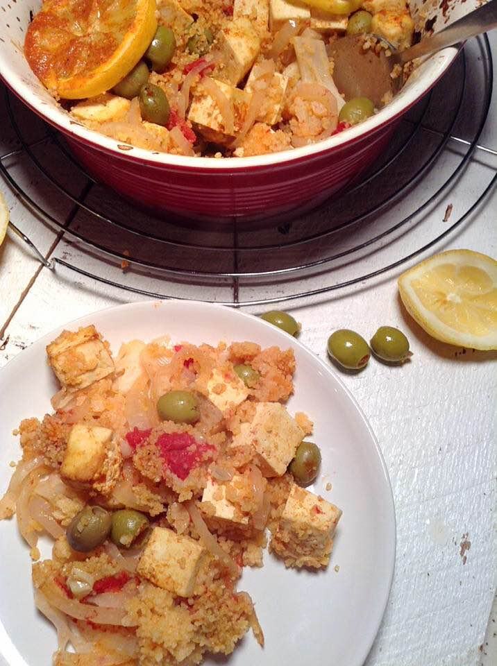 Morrocan lemony couscous with tofu
