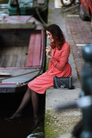 Red dress in Amsterdam
