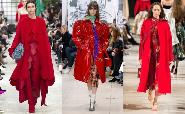 red coats trend Valentino, Miu Miu, Oscar de la Renta