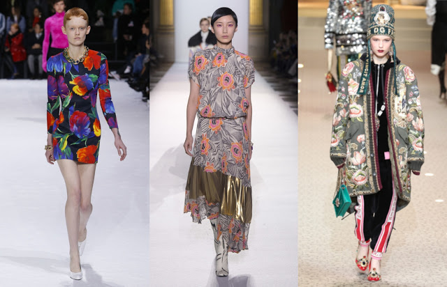eclectic floral trend fashion Balenciaga, Dries Van Noten, Dolce & Gabbana