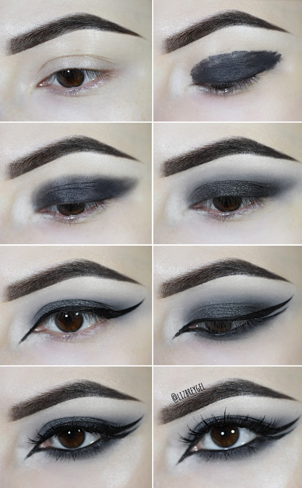 pictures with step by step instructions on how to to a black smoky eye makeup look with double eyeliner