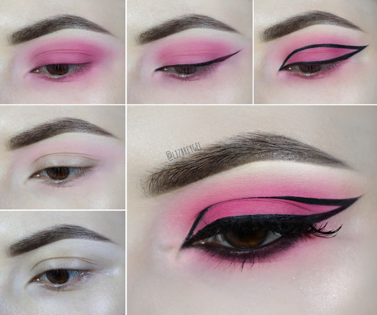 bubblegum pink and graphic eyeliner step by step makeup tutorial