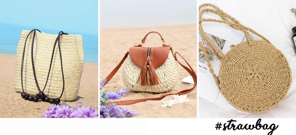 three trendy straw beach bags